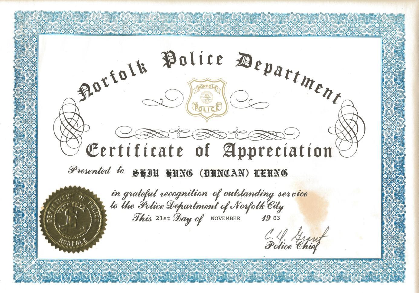 Norfolk police certificate